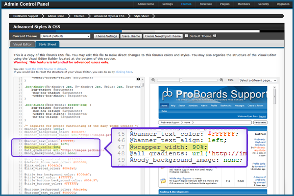 Changing the Forum Width | ProBoards